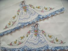 Vintage Unused 100 Cotton Hand Embroidered Crochet Southern Belle Pillowcases | eBay
