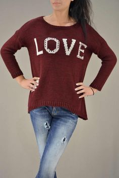 Γυναικείo πουλόβερ love  PLEK-2728-bu  Πλεκτά > Πλεκτά και ζακέτες Pullover, Sweaters, Fashion, Moda, Fashion Styles, Sweater, Fashion Illustrations, Sweatshirts, Pullover Sweaters