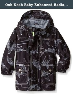 Osh Kosh Baby Enhanced Radiance Printed Rain Slicker, Grey, 12 Months. Baby boy enhanced radiance rain slicker.
