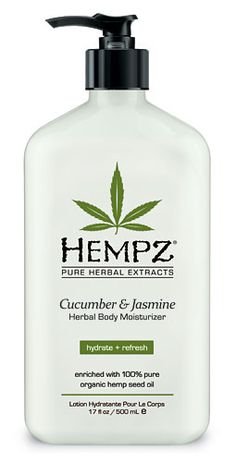 Hempz Cucumber & Jasmine Herbal Daily Moisturizer From Lotion Source. Cucumber and Jasmine Moisturizer is an all-day herbal body lotion providing dramatic skin rehydration though the use of pure Hemp Seed Oil and Extract. Pure Hemp Seed Oil and Extracts are rich sources of Essential Fatty Acids and Key Amino Acids vital to nourishing, hydrating and protecting skin.