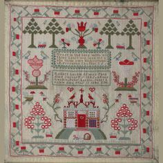 An early Victorian needlework sampler Mary Leckie Sewed This Oct 28 Shettleston Embroidery Sampler, Cross Stitch Embroidery, Cross Stitch Patterns, Machine Embroidery, Hand Embroidery, Cross Stitch Samplers, Linens And Lace, Vintage Sewing, Vintage Quilts