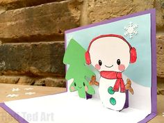 What a cute and easy Snowman Pop Up Card! These Snowman Pop Up Cards are fun to make and great as Christmas Cards or Thank You Cards!
