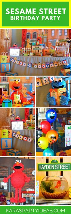 Sunny days are here to stay in this Sesame Street Birthday Party featured here at Kara's Party Ideas. Boy Birthday Parties, Baby Birthday, Birthday Nails, Birthday Celebration, Elmo First Birthday, Husband Birthday, Birthday Crafts, Kids Party Themes, Ideas Party