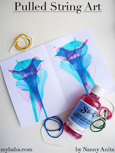 Pulled String Art | Nanny Anita | My Baba Painting For Kids, Art For Kids, Crafts For Kids, Arts And Crafts, Painting Process, Process Art, Liquid Watercolor, Watercolor Paper, Painting Activities