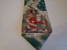 Fraser Thomson for Dillards Christmas Santa Clause Skiing Tie 100% Silk Made USA #fraserthomson #NeckTie