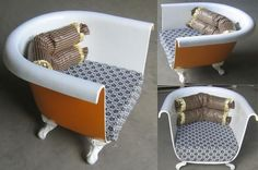 Ways to reuse and recycle bathroom tubs for modern furniture, - sofas, chairs and coffee tables, are interesting, impressive and Green. Creative recycling ideas and recycled crafts for eco friendly homes are modern trends in home decorating. Cast iron bathroom tubs are great objects that can be used