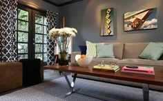 Jeff Lewis living room, slate matte grey with pattern drapes