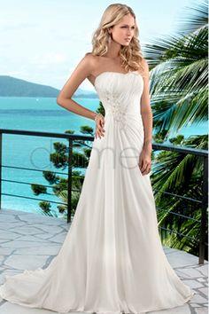 Strand Chiffon Schnürrücken A-Linie bodenlanges trägerloses einfaches Brautkleid