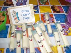 String cheese maps at a Dora Party Cute but trying too hard? Third Birthday, 4th Birthday Parties, Birthday Fun, Friend Birthday, Birthday Ideas, Dora And Friends, String Cheese, Party Time, First Birthdays