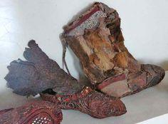 Scythian women's boots, leather, cloth, tin, and gold.  Pazyryk Kurgan area. 300-290 BCE.