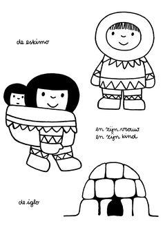 De eskimo en zijn vrouw en zijn kind. De iglo.