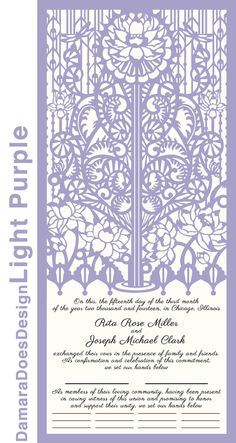Damara Does Design wedding certificates - inspired by the Quaker marriage ceremony, made of cut paper for the guests to sign as a witness to the vows. Wedding Certificate, Paper Cutting, Cut Paper, Ubs, Months In A Year, Marriage, Things To Come, Tapestry, Inspiration