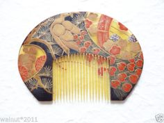 Vintage-Japanese-Hair-Comb-Yellow-Black-Bird-3-8inch-Kimono-Geisha-Hair-Ornament