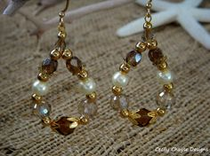 Pearl and Glass Teardrop Earrings with Gold Accents