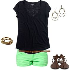 green shorts and black shirt! Its cute and casual! Cute Simple Outfits, Cute Summer Outfits, Classy Outfits, Cute Outfits, Vacation Outfits, Green Shorts, Complete Outfits, Neon Green, Passion For Fashion