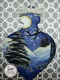 Winter Scene MDF Bauble by Sam Lewis AKA The Crippled Crafter. http://www.thecrippledcrafter.co.uk/2017/08/winter-scene-mdf-bauble-daisys.html #TheCrippledCrafter #DaisysJewelsAndCrafts #DecoArt #Christmas #MDF #Bauble #Winter #Snow