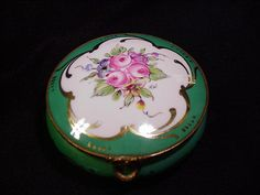 Vintage Limoges Round Box, Roses in Five-Lobed Reserve from estatetreasuretrove on Ruby Lane