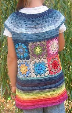 crochet granny-square tunic