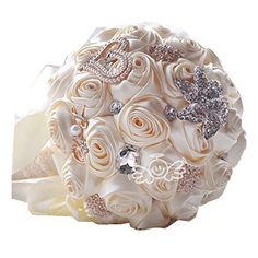 [HEART LOVE] Designer's heart Crystal Rhinestone Bridal Wedding Bouquet - Burgundy Satin Roses, Flower Brooch and Pearls-ivory * Check out this great product.