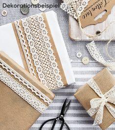Spitzenbänder - weiß - 1, 1,5 und 2 cm x 1,5 m - 3 Stück Partys, Creme, Gift Wedding, Favors, Balloons