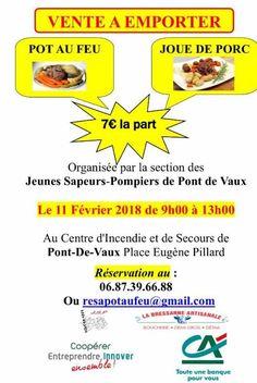 Vente de plats cuisinés des JSP le dimanche 11 février à la caserne des pompiers.