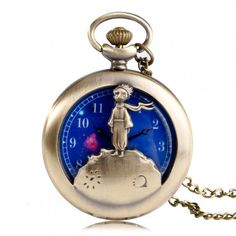 The Little Prince Vintage Bronze Planet Necklace Pocket Watch Blue Space Dial Half Hunter Steampunk Long Pendant Retro Gift Kids Retro Watches, Vintage Watches, Watches For Men, Children's Watches, The Little Prince Movie, Cute Necklace, Necklace Chain, Quartz Pocket Watch, Pocket Watch Necklace