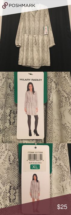 Hilary Ridley Snake Skin Tunic Dress! Beautiful dress! Wear alone or with leggings. Never worn, original price tag still attached! Hilary Radley Dresses Long Sleeve
