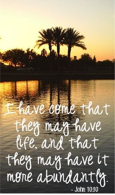 """I have come that they may have life, and that they may have it more abundantly.""  ~ John 10:10"
