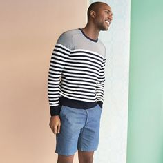 Go nautical in denim shorts and a striped sweater.