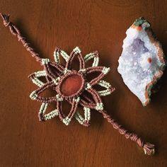 Cherry Quartz Flower Bracelet, Macrame Flower Bracelet