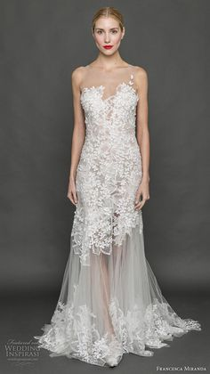 cade782f216 francesca miranda fall 2017 bridal sleeveless scallop sweetheart neckline  heavily emebellished bodice tulle skirt elegant trumpet