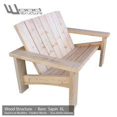 Banc Sapin XL - Design Wood Structure - Fabriquée en France par la Sarl Merlot - Fauteuil Banc - Table - Mobilier bois et Salon de Jardin