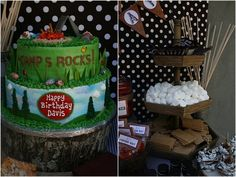 Camping themed party...Archer's birthday.  S'mores, pigs in blankets, trail mix bar, kettle corn...hot chocolate around the fire pit.  This link has cute food ideas- bear claws, camping-themed candy, etc.