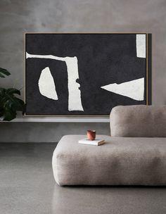 Hand painted oversized Horizontal Minimal Art on canvas, black and white minimalist painting. – CZ Art Design
