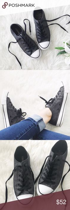 converse • chuck taylor sparkle converses 🛍: converse - chuck taylor - reposh! ▫️super adorable charcoal gray/black converses ▫️they have cute sparkly glitter!  ▫️size: 5 (men) 7 (women) - please know your Converse shoe size, as you cannot return items because of fit issues. ▫️condition: in very good condition for used shoes! Very minor dirt on the white sides ▫️price is firm unless bundled; I'd like to get most of my money back   •please see all pics, read description, and ask questions…