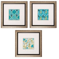 These vibrant pattern prints are great for a space that needs some color. Each pattern is slightly different but they work together to create a wonderful masterpiece.