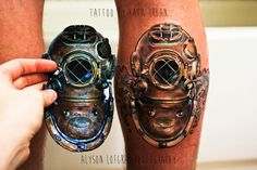 Deep Sea Diver tattoo Mark V - Tattoo by Kata Urban - Photo Realism -Nautical Tattoo - diver helmet