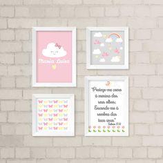 Dê mais vida ao quarto da sua filhota com o nosso kit de quadros decorativos. São 4 quadros decorativos.  São 2 quadros com 33,5 x 24 cm e 2 quadros com 23,5 x 23,5 cm. Todos possuem frente de vidro.  Gravuras impressas com qualidade fotográfica. My Baby Girl, Pink Girl, Diy Canvas, Baby Room Decor, 4 Kids, Girl Room, Kids Bedroom, Lily, Wallpaper