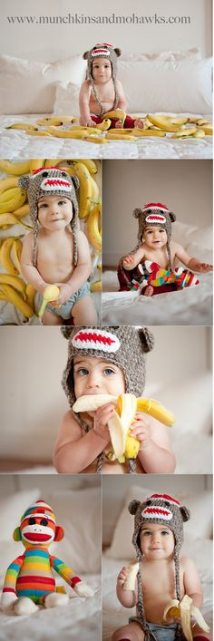 Monkey hat + bananas! Awesome! For our little Brennan @Christine Baranowski Swartz