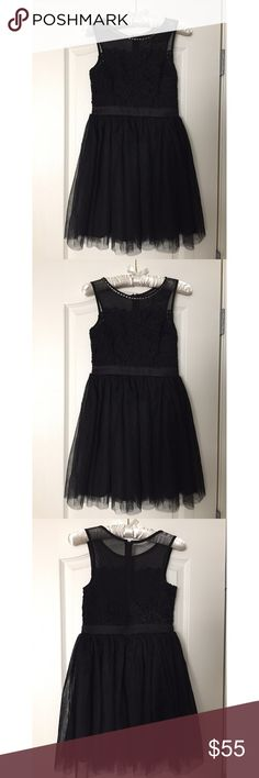Black dress Filly Flair black mini dress with tulle skirt, lace bodice and mesh neckline/back Dresses Mini