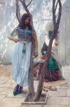 In a Courtyard, Tunis (In einem Innenhof, Tunis) | Ferdinand Max Bredt, German, 1868-1921