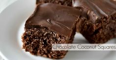 Homemade gluten free chocolate coconut squares - Ingredients 4 egg whites,  1 tsp vanilla extract 1/4 cup raw honey or more 1/4 cup unsweetened cocoa powder 1/8 tsp sea salt 2 cups unsweetened shredded coconut, fine Icing 3/4 cup chocolate chips  1 tbsp coconut oil