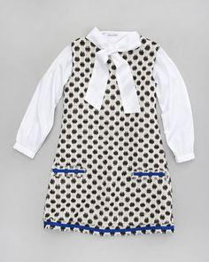 Star-Checked Tweed Dress & Pique Bow Blouse by Oscar de la Renta at Neiman Marcus.