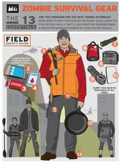 """REI's Essential Tools & Skills for Surviving a Zombie Outbreak"""".never mind about Zombies just a kit for wnything Zombie Survival Guide, Zombie Apocalypse Survival, Zombie Apocolypse, Survival Knife, Survival Prepping, Survival Skills, Survival Equipment, Emergency Preparedness, Zombies Survival"""