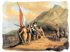 Painting by Charles Bell depicting the arrival of Jan van Riebeeck in the Cape - History of Cape Town South Africa, Cape of Good Hope History South Africa Tours, Cape Town South Africa, Rembrandt, Hans Thoma, White Settlers, Carl Spitzweg, History Of Wine, South African Wine, Amber Tree