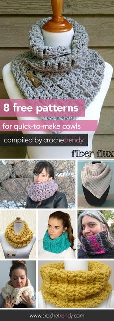 8 Free Cowl Patterns | Roundup by Crochetrendy.com