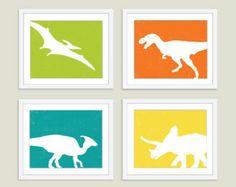 yellow grey dinosaur   Dinosaur Digital Prints - Set of Fo ur - Wall Art - Modern - Green ...