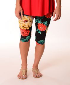 Another great find on #zulily! Red Floral Capri Leggings - Plus #zulilyfinds