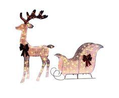 Christmas Prop Display Decoration Deer & Sleigh Pre Lit Lights Sculpture         #ChristmasPropDisplay