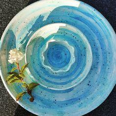 Handmade chip n dip platter with 3 bowls thrown in 1 piece. #platter #tableware #bluepottery #irishcraft #interiors #handmade #pottery #tapas #sushi #cook #food #foodlover #rustic #sharingplate #shopinireland Blue Pottery, Handmade Pottery, Platter, 1 Piece, Tapas, Sushi, Dip, Bowls, Interiors